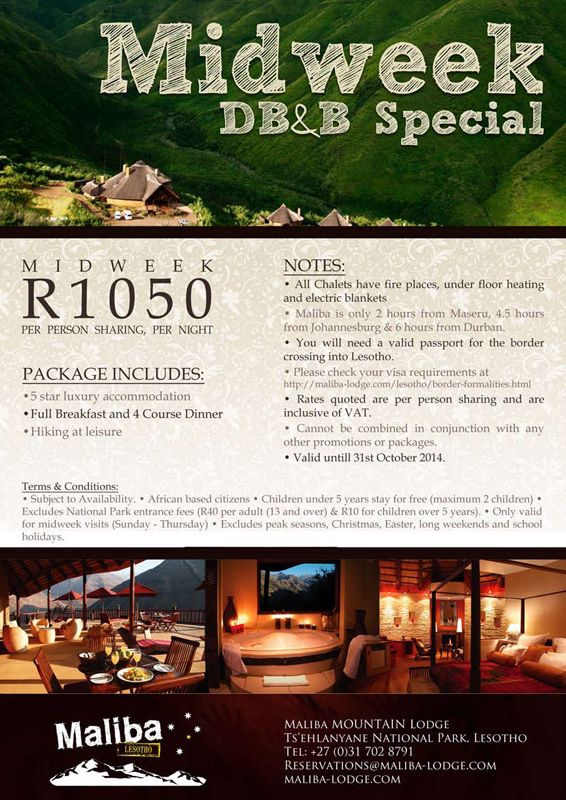 Maliba Mountain Lodge DB&B Special