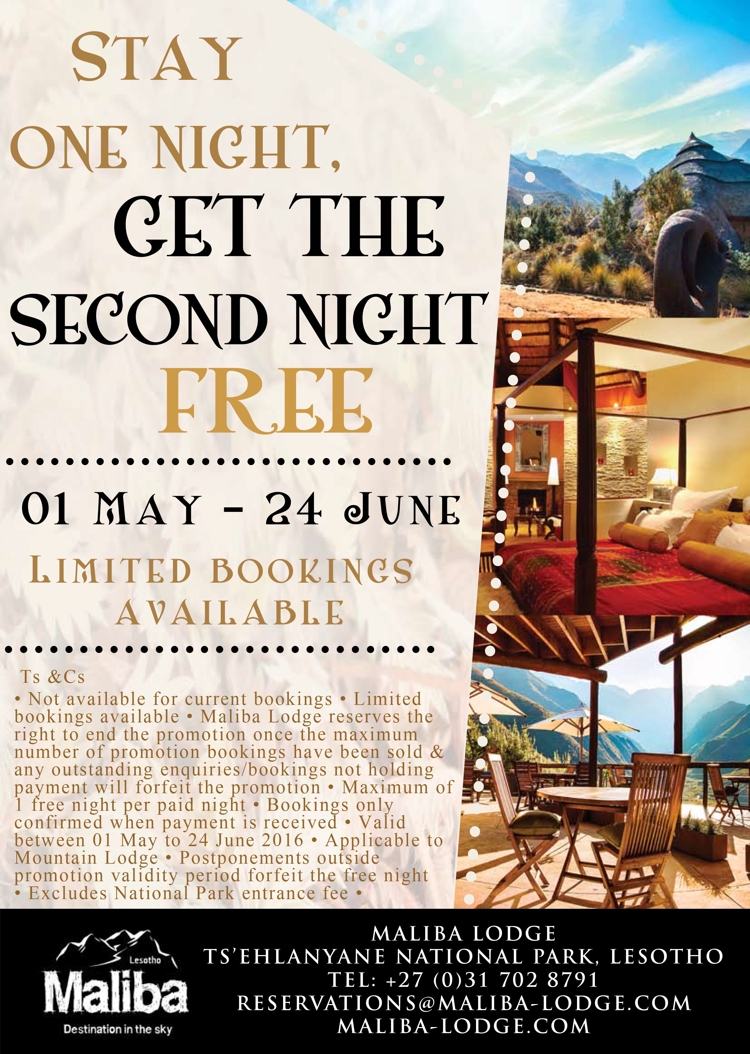 Second Night Free Promo Maliba Lodge