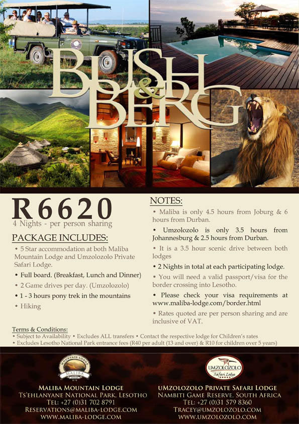 Maliba Lodge Bush & Berg Special 2012